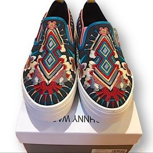 Johnny Was Hutton embroidered slip on sneakers